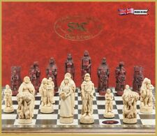 Studio Anne Carlton 15158 Robin Hood Chess Set Burgundy and Cream