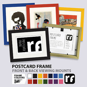 Postcard Picture Frame Wood Black White Colours Rear View Collector RUBIX FRAMES