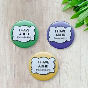 ADHD Badges Hidden Disability - 3 pack of 59mm Pin Button