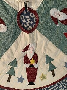 """Vintage Hand Quilted Santa Claus Christmas Tree Skirt Quilt  50"""" Round  #224"""