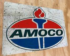 "AMOCO Gasoline Oil Distressed Looking Aluminum Metal Sign 12""x18"""