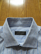 CANALI Blue Stripe Dress Shirt 15.5/39 Made in Italy