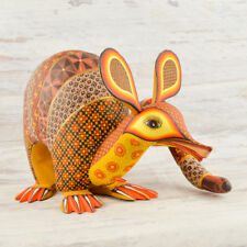 A1410 Armadillo Alebrije Oaxacan Wood Carving Painting Handcrafted Folk Art