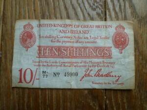 1915 John Bradbury ten shilling note. Prefix M1 77 TREASURY 10/- note