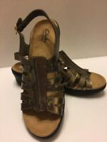 Clarks Metallic Bronze Sandals 10M Bendables Leather Slingback Open Toe Openwork