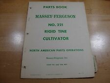Massey Ferguson No. 221 Rigid Tine Cultivator Parts Catalog manual book 1960