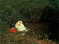 """Art oil painting young woman in white dress by stream landscape & big trees 36"""""""