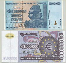 ZIMBABWE - GENUINE NEW $100 TRILLION BILL+ AWESOME 1 MILLION EURO FANTASY NOTE!