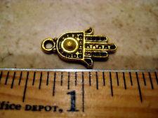 15 Tibetan Golden Hamsa Charms Pendant Jewelry Findings Earrings Necklace