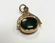 9 ct carat 375 Gold Vintage style with Black and Green Oval Stone