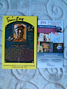 Ernie Banks signed hall of fame plaque yellow postcard autograph JSA