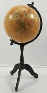 """N) Decorative 8"""" Tabletop Globe with 18"""" Brown Stand"""