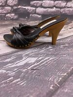 "STEVE MADDEN LIZI Woman's High Heels Size 6.5 M Black Leather Upper 3.75"" Heels"
