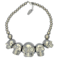 Kreepsville 666 Skull Collection Metallic Necklace Goth Halloween Horror Charm