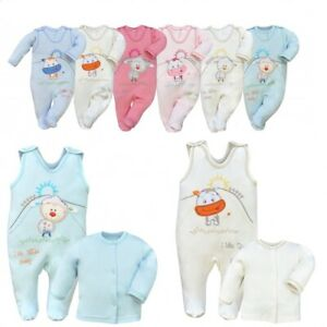 100% Cotton Baby boys girls babygrows 3-6 months 2pcs set NEW outfit SLEEPSUITS