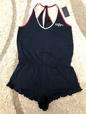 NWT  $49 Tommy Hilfiger  Navy Blue Striped Sleep/ Lounge Romper Jumpsuit Size XL