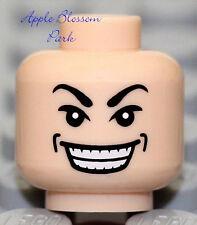 NEW Lego Male Light FLESH MINIFIG HEAD Indiana Jones Asian Gangster Teeth Smile
