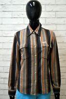 Camicia MARLBORO CLASSICS Donna M Blusa Manica Lunga Righe Cotone Marrone