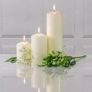 Unscented Thick Round White Christmas Table Church Pillar Candles Long Lasting