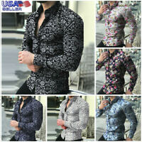 Mens Fashion Casual Long-Sleeve Shirt Business Slim Fit Shirt Printed Blouse Top