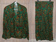 Rena Rowan for Saville Womens 2 pc Dress Sz 14 Emerald Green Floral Jacket Skirt