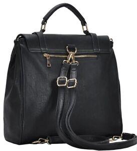 MMS Design Studio Women's Convertible Faux leather Snap Backpack Black Gunmetal