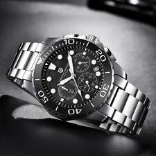 PAGANI DESIGN Men Quartz Watches Stainless Steel Band Chronograph Auto Date