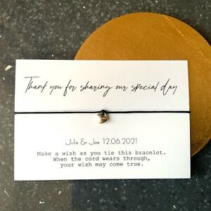 Thank You For Sharing Our Special Day wedding Wish Bracelet Favours quest gift