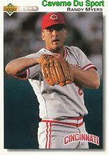 278 RANDY MYERS CINCINNATI REDS  BASEBALL CARD UPPER DECK 1992