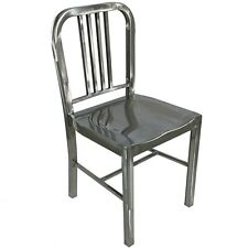 NEW SILVER BRUSHED STEEL METAL EMECO US NAVY CHAIR BISTRO BAR CAFE TOLIX RETRO