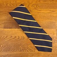 Brooks Brothers Makers Navy & Gold Striped 100% Silk Neck Tie - Made in USA