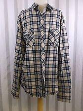 English Laundry Plaid Shirt Large Black Tan Long Sleeve