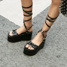 Women Sexy Lace Up Sandals High Heels Platform Boot Gladiator Club Fashion Shoes