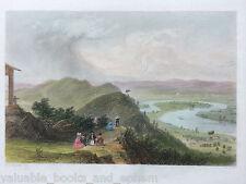 Antique Mount Holyoke Engraved Print 1837 Massachusetts Oxbow Connecticut River