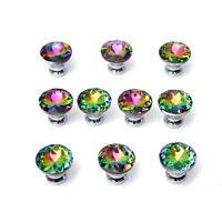 10Pcs Colour Diamond Crystal Glass Pull Handle Knob Door Drawer Cabinet Wardrobe