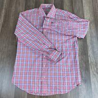 Peter Millar Mens Shirt Large Multi Color Pink Blue Plaid Long Sleeve Button up
