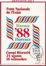 ITALIA MAXIMUM MAXI CARD FESTA NAZ. L'UNITà FIRENZE 1988 CAMPI BISENZIO FI B121