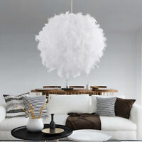 30/40cm Faux Feather Ceiling Pendant Light Shade Living Room Lampshade LED Bulb