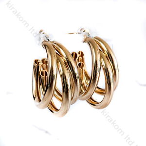 Multiple Hoops Gold Earrings Dangle Trendy Layered Vintage Statement Fashion