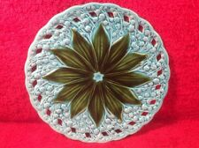 Antique Reticulated German Lily of the Valley Majolica Plate, gm214 GIFT QUALITY
