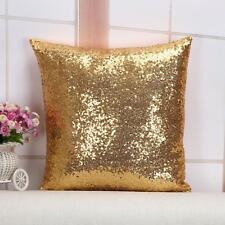 1X Gold Glitter Sequins Throw Pillow Case Home Sofa Decor Office Lumbar Cushion