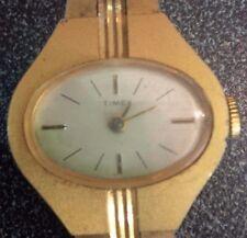 Unique style vintage Timex ladies mechanical hand wind gold tone watch RUNS