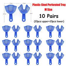 10pairs Dental Plastic Steel Perforated Impression Trays Medium Size Upperlower