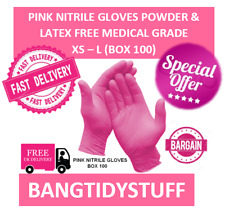 100 PINK NITRILE GLOVES POWDER & LATEX FREE MEDICAL GRADE SIZES:XS - L FREE POST