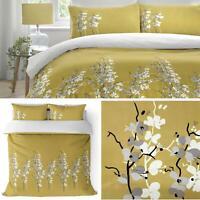 Ochre Duvet Covers Floral Blossom Reversible White Quilt Cover Bedding Sets