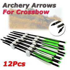 "12Pcs Archery Crossbow Arrows Bolts Target Tips Fit Hunting Shooting w/4"" Vanes"
