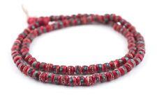 Red Inlaid Yak Bone Mala Beads 6mm Nepal Round Large Hole 21 Inch Strand
