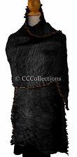Large Scarf STOLE shawl 100% SILK pleated lady ELEGANT hipster chic Black