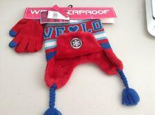 Girls Red & Blue Hat & Gloves Set - BNWT