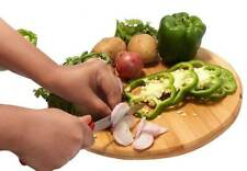 More details for multi-purpose circular wooden fruit vegetable serving chopping cutting board pad
